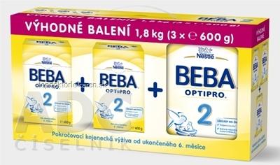 BEBA OPTIPRO 2 - Trojbalenie následná výživa dojčiat (od ukonč. 6. mesiaca) 3x600 g (1,8 kg), 1x1 set