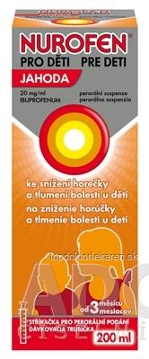 NUROFEN pre deti Jahoda sus por (PET fľ.+ dávk.trub.) 1x200 ml