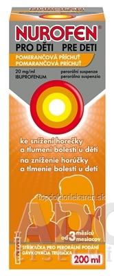 NUROFEN pre deti Pomaranč sus por (fľ.PET hnedá) 1x200 ml