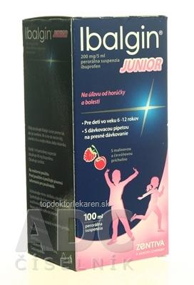 Ibalgin JUNIOR sus por 4 g (fľ.skl.tmavá+dávk.pipeta) 1x100 ml