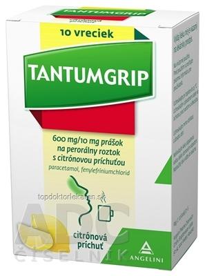 TANTUMGRIP s citrónovou príchuťou plo por 600 mg/10 mg, vrecká 1x10 ks