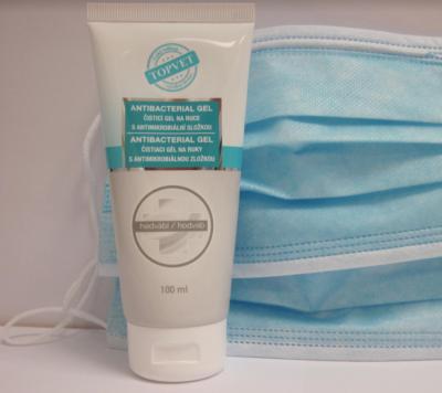 Čistiaci antibakteriálny gél na ruky - Dezinfekcia - TOPVET - 100ml + 2x Ochranné ruško (Rúška)